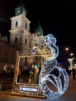 Cornice luminosa con la Sirenetta di Varsavia